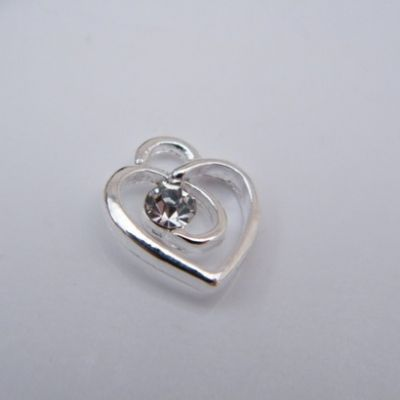 Clear Sparkle Swirl Heart Wine Glass Charm - Full Sparkle Style